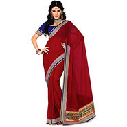 Ishin Heavy Brocade And Zari Border Saree - Maroon