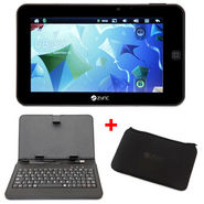 Combo of ZYNC Z909Plus (7inch:Touch Screen Pad:Camera:4GB Memory:Wi-Fi:Google Android OS) + USB Leather Case Keyboard + Pouch