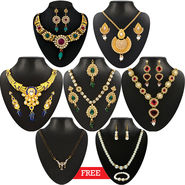 Kriaa Combo of 5 Jewellery Set With Free Pearl Necklace Set & Manglsutra