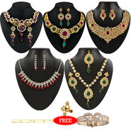 Kriaa Combo of 5 Jewellery Set With Free Payal & Kada & Ring