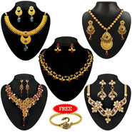 Kriaa Combo of 5 Ethnic Jewellery Set With Free Gold Plated Kada