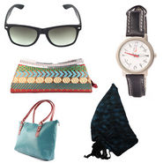 Combo of Wrist Watch + Ladies Hand Bag + Banarsi Clutch + Women Sunglass + Stole