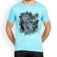 Incynk Half Sleeves Printed Cotton Tshirt For Men_Mht201aq - Aqua