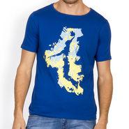 Incynk Half Sleeves Printed Cotton Tshirt For Men_Mht202b - Blue