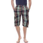 Delhi Seven Cotton Checks Capri For Men_D7Cg06 - Multicolor
