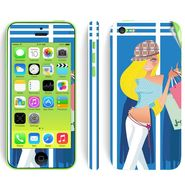 Snooky 39059 Digital Print Mobile Skin Sticker For Apple Iphone 5C - Blue