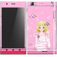 Snooky 39144 Digital Print Mobile Skin Sticker For Lenovo K900 - Pink