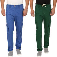 Pack of 2 Blimey Regular Fit Cotton Cargo _Bf26 - Green & Blue