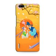 Snooky 37368 Digital Print Hard Back Case Cover For huawei honor 6 Plus - Orange