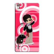 Snooky 38329 Digital Print Hard Back Case Cover For Huawei Ascend P7 - Rose Pink