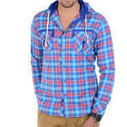 Bendiesel Checks Cotton Shirt_Bdc076a - Blue & Pink