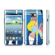 Snooky 39527 Digital Print Mobile Skin Sticker For Samsung Galaxy S2 I9100 - Blue
