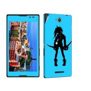 Snooky 39646 Digital Print Mobile Skin Sticker For Sony Xperia C / S39h - Blue