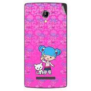 Snooky 42088 Digital Print Mobile Skin Sticker For Intex Aqua N8 - Pink