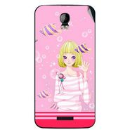 Snooky 42125 Digital Print Mobile Skin Sticker For Intex Aqua Q1 - Pink