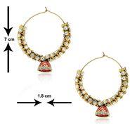 Spargz Antique Pink Enamel Kundan Earring_Aier168 - White