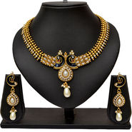 Pourni Antique Peacock Design Pearl Necklace Earring Jewellery Set_Prnk06