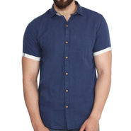 Branded Linen Casual Shirt_Zara04 - Navy Blue