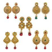 Pack of 5 Pourni Exclusive Designer Pearl & Color Stone Earrings_P2531247