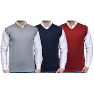 Pack of 3 Plain Sleeveless V Neck Sweaters For Men_Zs01