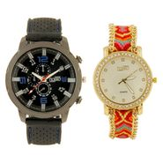 Fidato Combo of 1 Watch For Men + 1 Wrist Watch For Women_Fdwc41