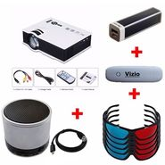 VIZIO K 1000 HD LED Projector with 1000 Lumens (White) + Five 3D Glasses + 2600 mAh Power Bank + Data Card + Bluetooth Speaker