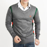 Full Sleeves Cotton Sweater For Men - Grey