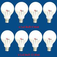 Home Pro Combo Of 8 Led Bulb 9 Watt & 12 Watt