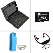 Vox 7 inch Universal Keyboard + 2600 mAh Powerbank + Neckband for Music with Memory Card Support