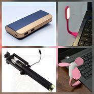 Combo of Zync (PB999 Elegant 10400 mAh Powerbank + Selfie Stick + USB LED Light + USB Fan) - Navy Blue
