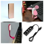 Combo of Zync (PB999 Elegant 10400 mAh Powerbank+ USB Hub + USB LED Light + USB Fan) - Golden
