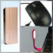 Combo of Zync (PB999 Elegant 10400 mAh Powerbank+ Mouse + USB LED Light) - Golden