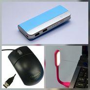 Combo of Zync (PB999 Elegant 10400 mAh Powerbank+ Mouse + USB LED Light) - Sky Blue
