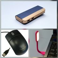 Combo of Zync (PB999 Elegant 10400 mAh Powerbank+ Mouse + USB LED Light) - Navy Blue