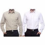 Pack of 2 Full Sleeves Shirts For Men_S716568 - Beige & White