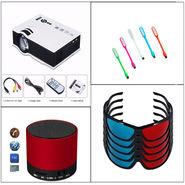Combo of Vizio UC 80 HD LED Projector with 1000 Lumens + 1 Bluetooth Speaker + 5 3D Glasses + 5 USB LED Lights
