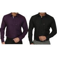 Pack of 2 Fizzaro Regular Fit Cotton Shirts For Men_Fs103104 - Dark Purple & Black