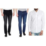 Combo of 2 Pelican Stretchable Slim Fit Jeans + 1 Cotton Shirt_Pjcs02