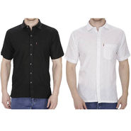 Pack of 2 Fizzaro Plain Linen Casual Shirts_Fz104105 - Black & White