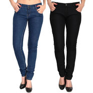 Pack of 2 Fizzaro Slim Fit Plain Denim_Fzljbkbl - Black & Blue