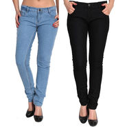 Pack of 2 Fizzaro Slim Fit Plain Denim_Fzljbksbl - Black & Sky Blue