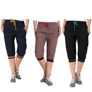 Pack of 3 Fizzaro Cotton Capris For Women_Fzgcbybnrbkg