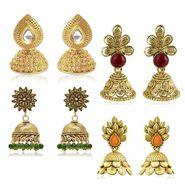 Spargz Combo of 4 Pair Traditional Look Gold Plating Kundan Jhumki Earrings_Cm531