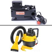 Combo of Air Compressor + Car Vacuum Cleaner Auto Hoover Air Pump 12V