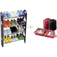 12 Pair Stackable Shoe Rack With Shoe Tote - 12SHWSTSR