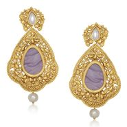 Kriaa Resin Kundan Pearl Drop Dangle Finish Earrings _1305437