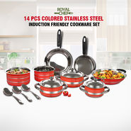 14 Pcs Colored Stainless Steel Induction Friendly Cookware Set