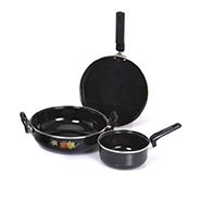 3Pcs Non Stick Cookware Set (CWS1) - Black
