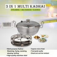3 in 1 Multi Kadhai - Steamer + Idli Maker + Kadhai