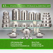 43 Pcs Stainless Steel Storage & Serving Set